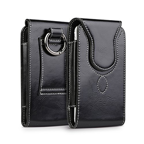 iPhone 8 Plus Pouch Case, kiwitatá iPhone 7 Plus Leather Belt Holster Carrying Case with Round Metal Carabiner For iPhone 6 Plus 6S Plus ( Fits Phone with a case On) Black