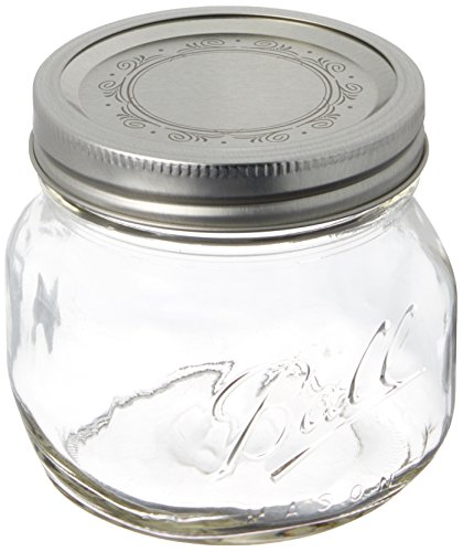 Ball Collection Elite Pint (16-oz.) Wide Mouth Jars, Clear, 1-Pack of 4 (Oven Safe Mason Jars)