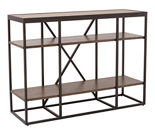 INSPIRED by Bassett Brunswick 3 Ash Veneer Shelf Storage Console with Metal Frame
