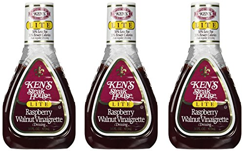 KEN'S STEAK HOUSE Lite RASPBERRY WALNUT VINAIGRETTE Salad Dressing 16 oz. (Pa... (Best Raspberry Vinaigrette Brand)