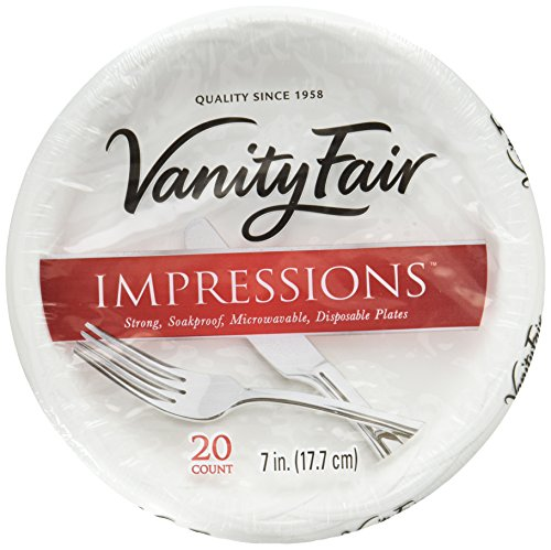 Vanity Fair Impressions Disposable Dessert Plates, Paper Plates, 60 Count (3 Packs of 20 Plates) ()