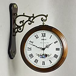 European Solid Wood Living Room/Hall Two-Sided Wall Clock/Garden Wall Clocks,White