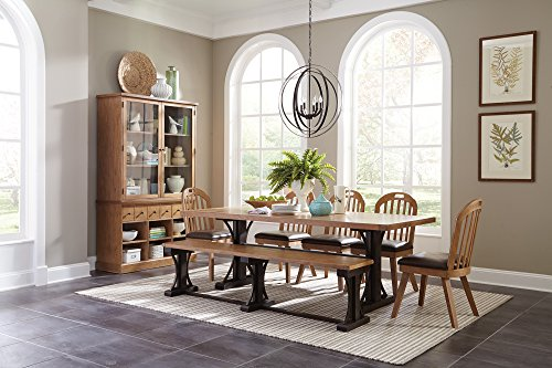 Bishop Rectangular Trestle Dining Table Dark Coffee and Black