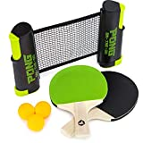 Pong on the Go! Portable Table Tennis Playset with Net, Paddles, Balls, and Carry Bag by Brybelly