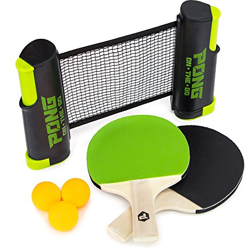 Pong on the Go! Portable Table Tennis Playset with Net, Paddles, Balls, and Carry Bag by Brybelly by Brybelly