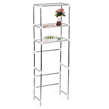 Estante para inodoro, 3 estantes de acero inoxidable para baño, organizador de almacenamiento de inodoro para baño 165×53cm