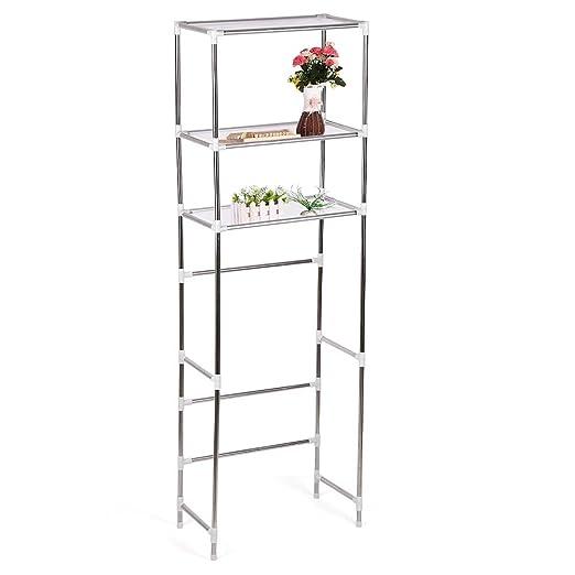 Estante para inodoro, 3 estantes de acero inoxidable para baño, organizador de almacenamiento de inodoro para baño 165×68cm