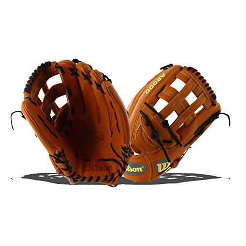 12.75 In Outfield Baseball Glove (Wilson 2018 A2000 1799 Outfield Gloves - Right Hand Throw Orange Tan/Black/Silver, 12.75
