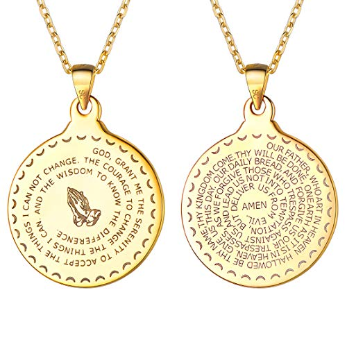 - U7 Men Women Bible Verse Prayer Necklace with Chain Christian Jewelry 18K Gold Coin/Heart/Vintage Charm Praying Hands Coin Medal Pendant, Length 20-26
