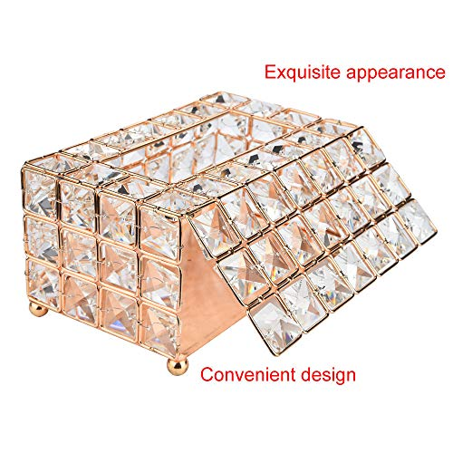 - Bazahy US in Stock Handmade Round Crystal Tissue Box Tray 200pc Paper Towel Storage Gold, Silver for Home (A)