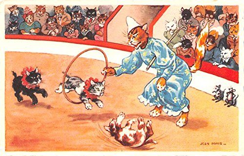 - Artist Jean Paris Cats and Mouse Circus Act Postcard