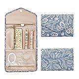 bagsmart Travel Jewellery Organiser Roll Foldable Jewelry Case for Journey-Rings, Necklaces, Bracelets, Earrings, White Leaf