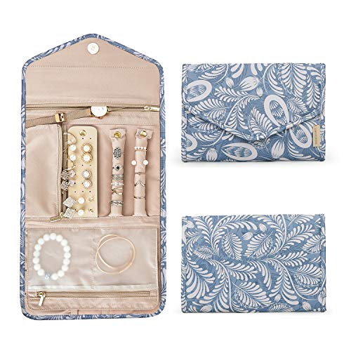 BAGSMART Travel Jewellery Organiser Roll Foldable Jewelry Case for Journey-Rings, Necklaces, Bracelets, Earrings, White Leaf (Leaf Design Necklace)