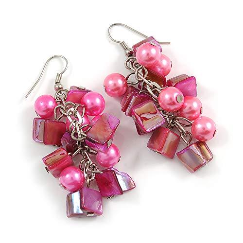 Pink Glass Bead, Shell Nugget Cluster Dangle/Drop Earrings In Silver Tone - 60mm Long