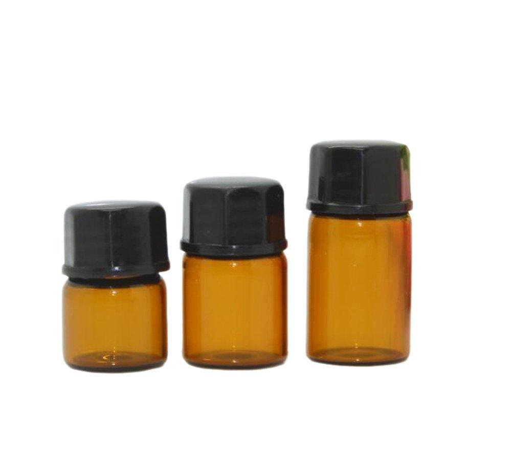 アンバーガラス芳香油詰め替えミニボトル ローション香水ボトル コンテナ ジャー ガラス瓶 オリフィスレジューサ&ブラックキャップ 30個入り 2ml イエロー B01LYUPFUG   2ml