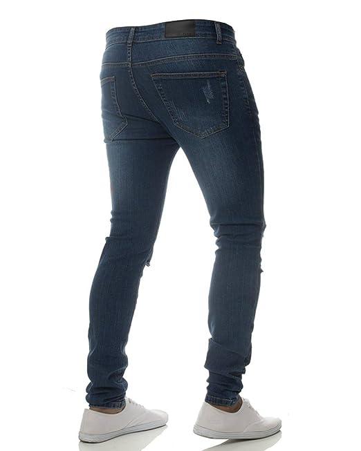 Herren Ripped Jeans Hose Stretch Leichte Biker Jeanshose Slim Fit   Amazon.de  Bekleidung 581cfa3ed5