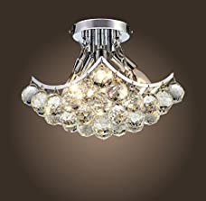 "Saint Mossi Crystal Chandelier Modern & Contemporary Ceiling Pendant Light 4 E12 Bulbs Required H9"" X W9"" X L9"""