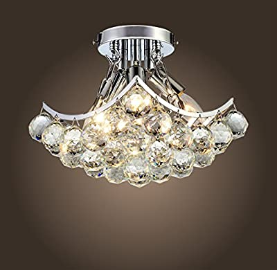 """Saint Mossi Crystal Chandelier Modern & Contemporary Ceiling Pendant Light 4 E12 Bulbs Required H9"""" X W9"""" X L9"""""""