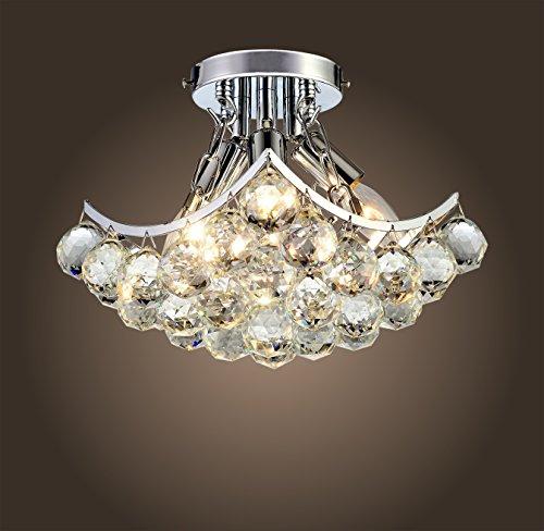 Saint Mossi Chandelier Modern K9 Crystal Raindrop Chandelier Lighting Flush mount LED Ceiling Light Fixture Pendant Lamp for Dining Room Bathroom Bedroom Livingroom 4 E12 Bulbs Required H9 X W9 X L9
