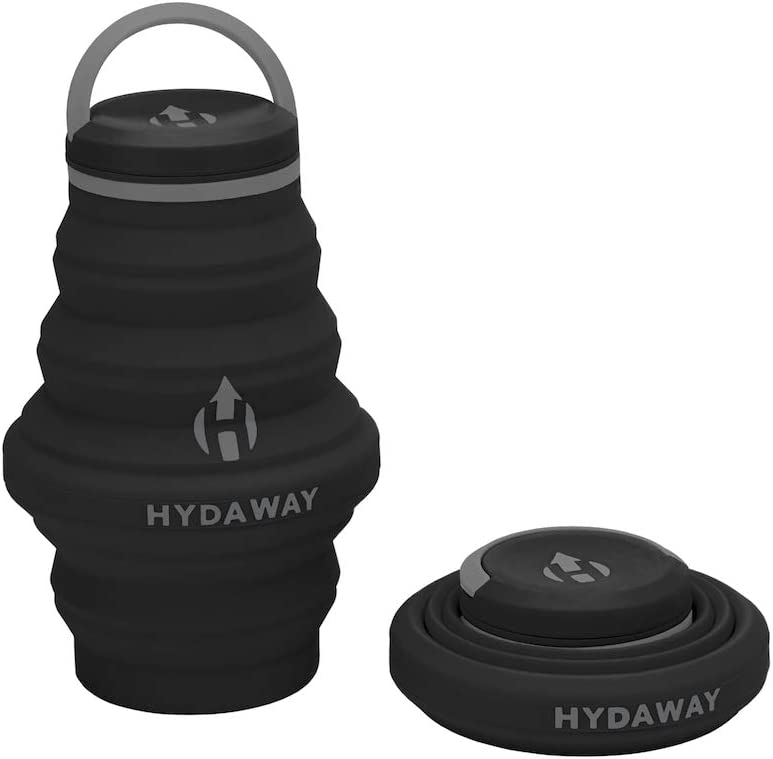 HYDAWAY Collapsible Water Bottle, 18oz Cap Lid | Ultra-Packable, Travel-Friendly, Food-Grade Silicone (Midnight