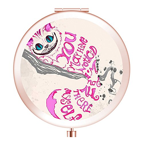 Folding Travel mirror, Portable Round Mini Makeup Mirror with Double Sides 2x &1x Magnification Good Gift for Girls - Pink Cheshire Cat]()