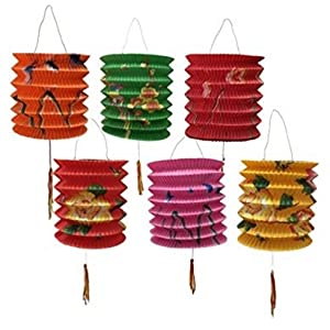 DMtse 12CM DIAMETER PACK OF 12 MIX COLOUR CHINESE NEW YEAR PAPER LANTERNS (ASSORTED)
