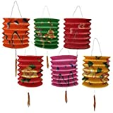 DMtse Papierlaternen, 12cm Durchmesser, 12Stück, Farb-Mix, chinesisches Neujahr, sortiert
