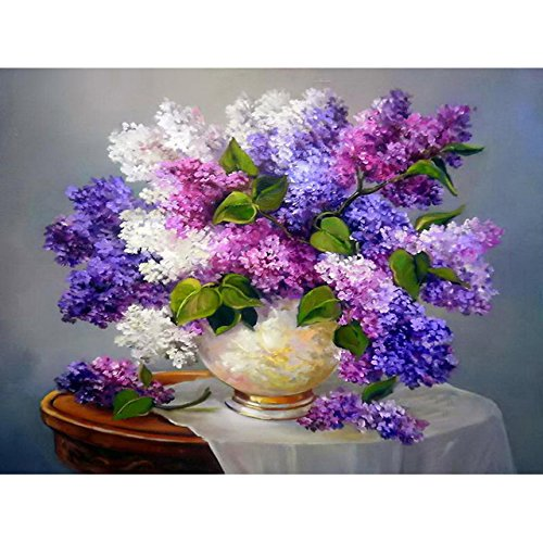 Resin Oil Vase Stone (5D DIY Diamond Painting Needlework Full Diamond Embroidery Purple Lilac Flower Vase Painting Pattern Home Decor Gift)
