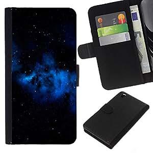 KingStore / Leather Etui en cuir / HTC DESIRE 816 / Espacio Azul Galaxy Gas Nube Estrellas Universo