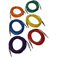 Seismic Audio SATRX-25BGORYP  6 Pack of Multi Color 25 1/4TRS to 1/4 TRS Patch Cables