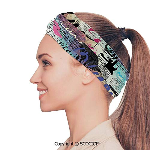 SCOCICI Stretch Soft and Comfortable W9.4xL18.9in Headscarf Headbands Blues Music Genre Old Record Electric Guitars Inscriptions Grunge Decorative,Multicolor Perfect for Running, Working Out, Yoga,