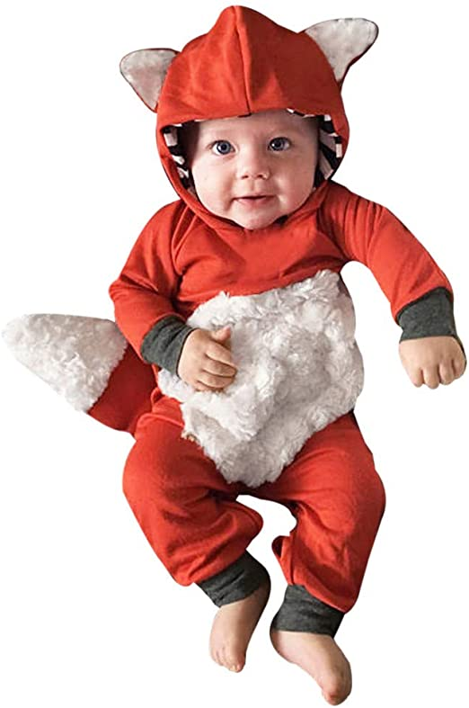 Newborn Infant Baby Boy Kids Fox Hooded Romper Jumpsuit Bodysuit Clothes Outfit
