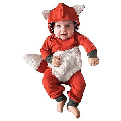 dfddc9067d1e Fheaven (TM) Clearance Newborn Infant Baby Boy Girl 3D Cartoon Fox Hooded Romper  Jumpsuit