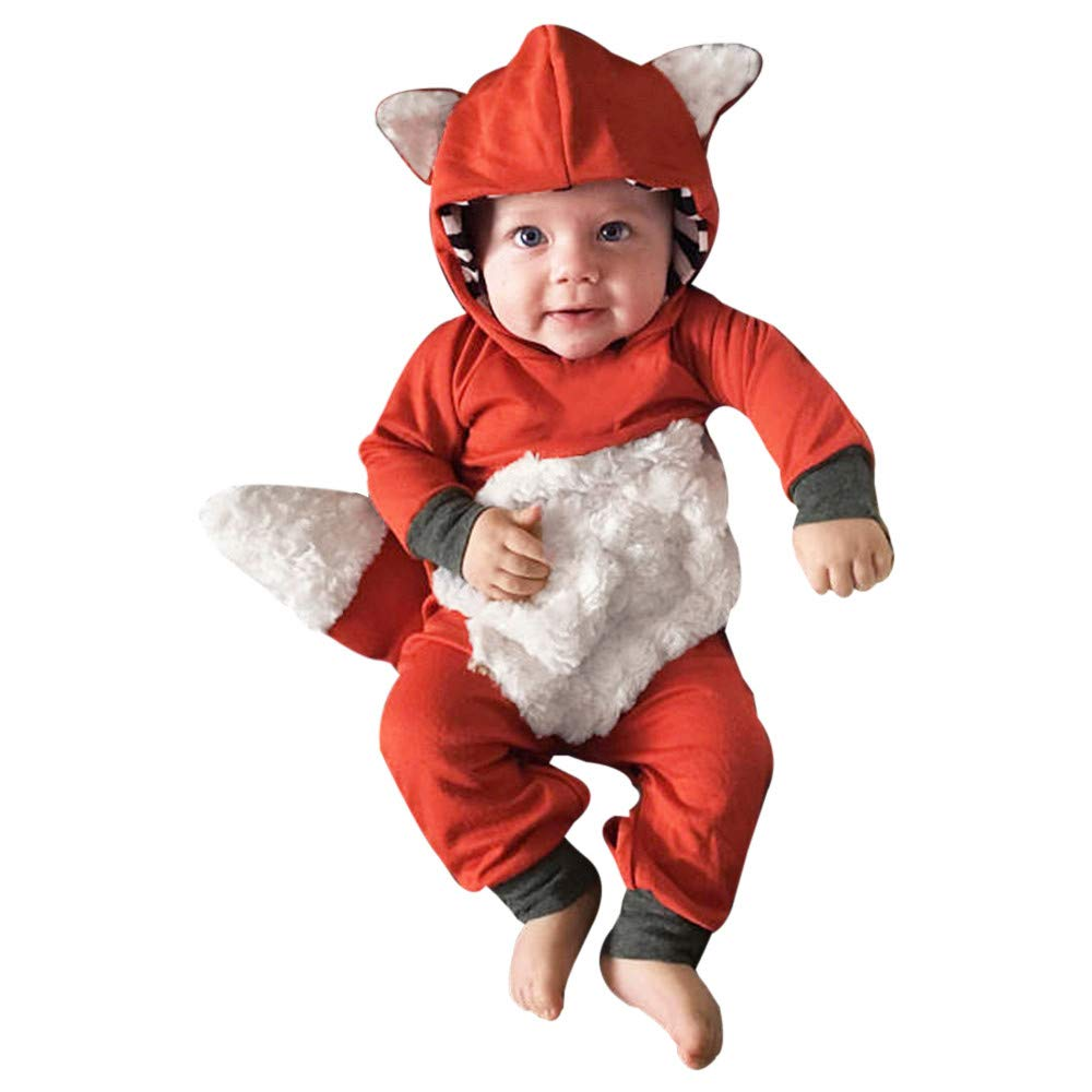 Newborn Infant Baby Girls Boys 3D Cartoon Animal Fox Hooded Sweatshirt Onesie Romper Jumpsuit Outfits Cute