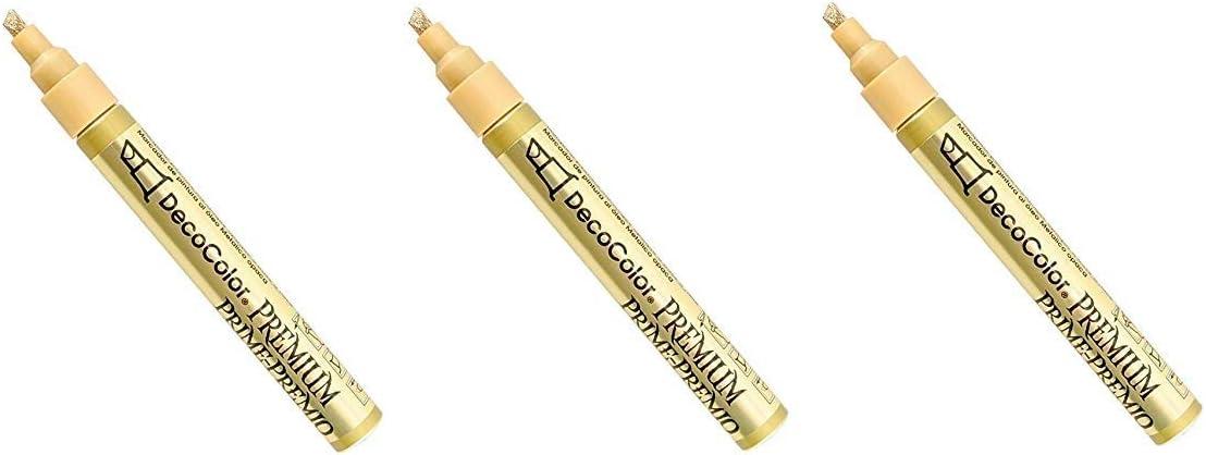 Uchida Of America 350-CGLD DecoColor Premium 3 Way Chisel Point Pen, Gold hr P ck