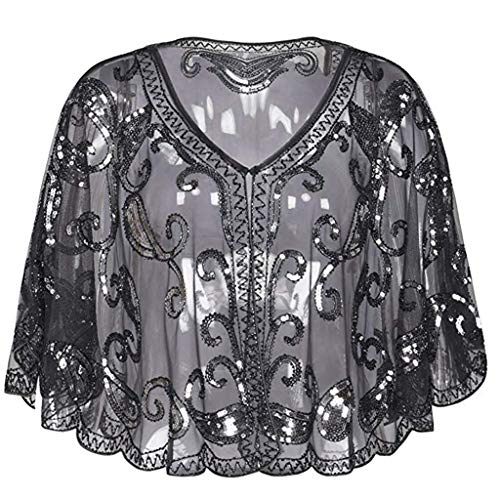 QingFan Women's 1920s Shawl Beaded Sequin Deco Evening Cape Bolero Flapper Cover up (Black 1) -