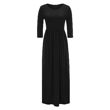 Damen Frauen-lange Hülsen-lose einfache Maxi kleidet beiläufige ...