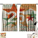 25th Birthday Room/Bedroom Vintage Colored Stars and Greetings in Different Languages Retro Art Print pop Darkening Curtains Multicolor W55 x L39