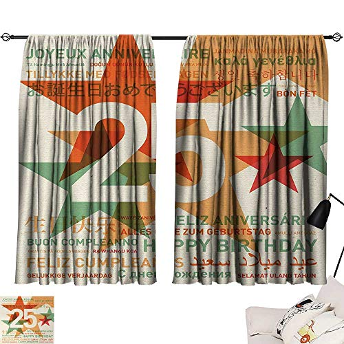 25th Birthday Room/Bedroom Vintage Colored Stars and Greetings in Different Languages Retro Art Print pop Darkening Curtains Multicolor W55 x L39 by Jinguizi (Image #6)