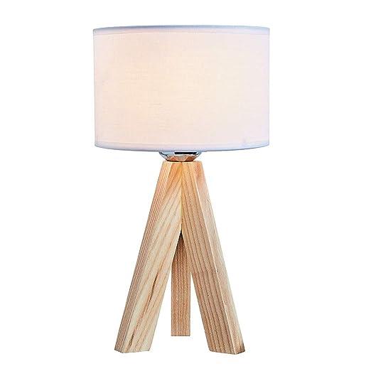 WYHYQY Lámpara de Mesa de Madera con Bombilla LED, pequeña, Hecha ...