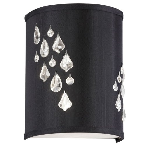 Dainolite Lighting RHI-8L-2W-694 Left Hand Facing 2-Light Wall Sconce with Crystal Accents, Black Baroness Fabric Finish