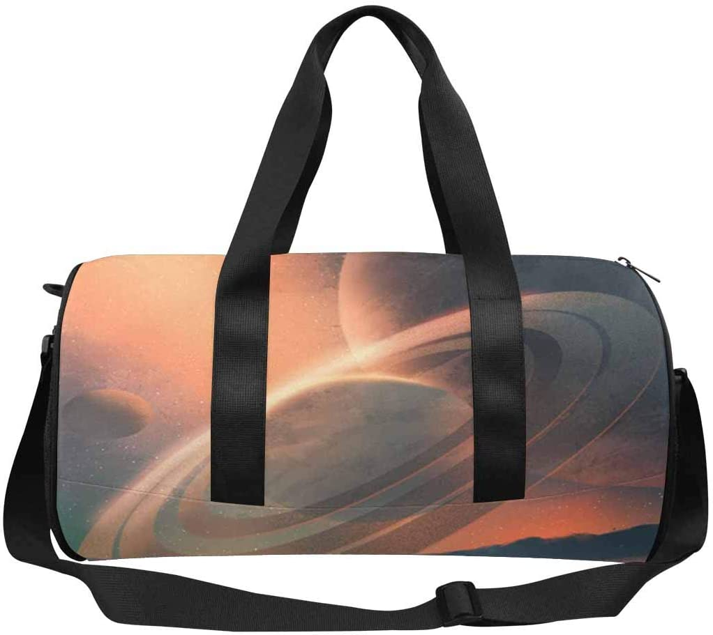 INTERESTPRINT Astronaut Beach Planets Sky Weekend Bag Travel Duffel Bag