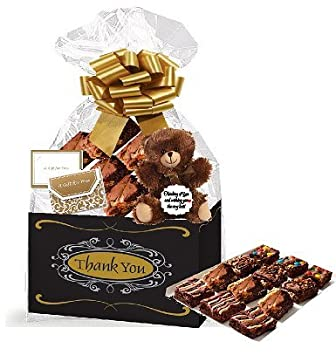 Thank You Gourmet Food Gift Basket Chocolate Brownie Variety Gift Pack Box (Individually Wrapped)