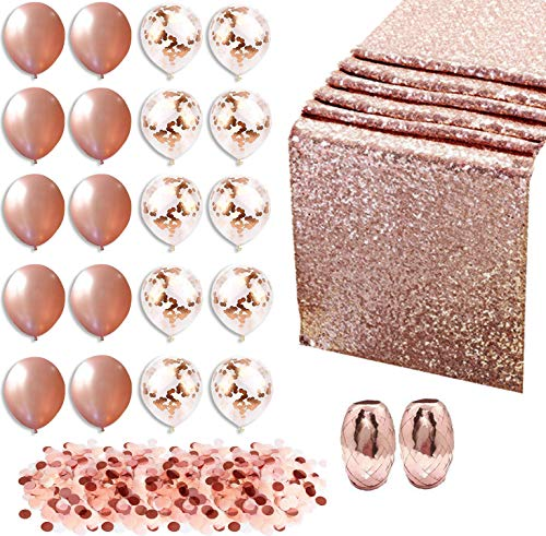 Rose Gold Party Decorations - 20 Rose Gold (Confetti/Solid) Balloons - Rose Gold Table Runner, Ribbon and Confetti - Party Supplies for Weddings, Birthday, Baby/Bridal Shower, Bachelorette Party -