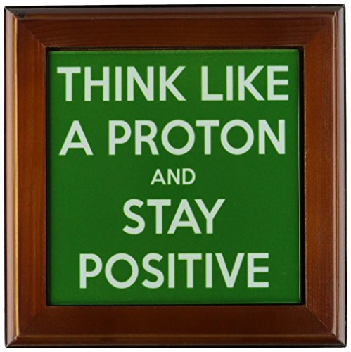 3dRose ft_173354_1 Think Like a Proton and Stay Positive. Green. Science Teacher-Framed Tile Artwork, 8 by 8-Inch
