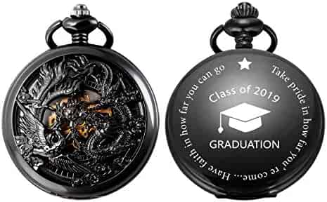 Sibosun Personalized Pocket Watch Engraved 'Class of 2019' College High School Graduation Gift to Son Dragon
