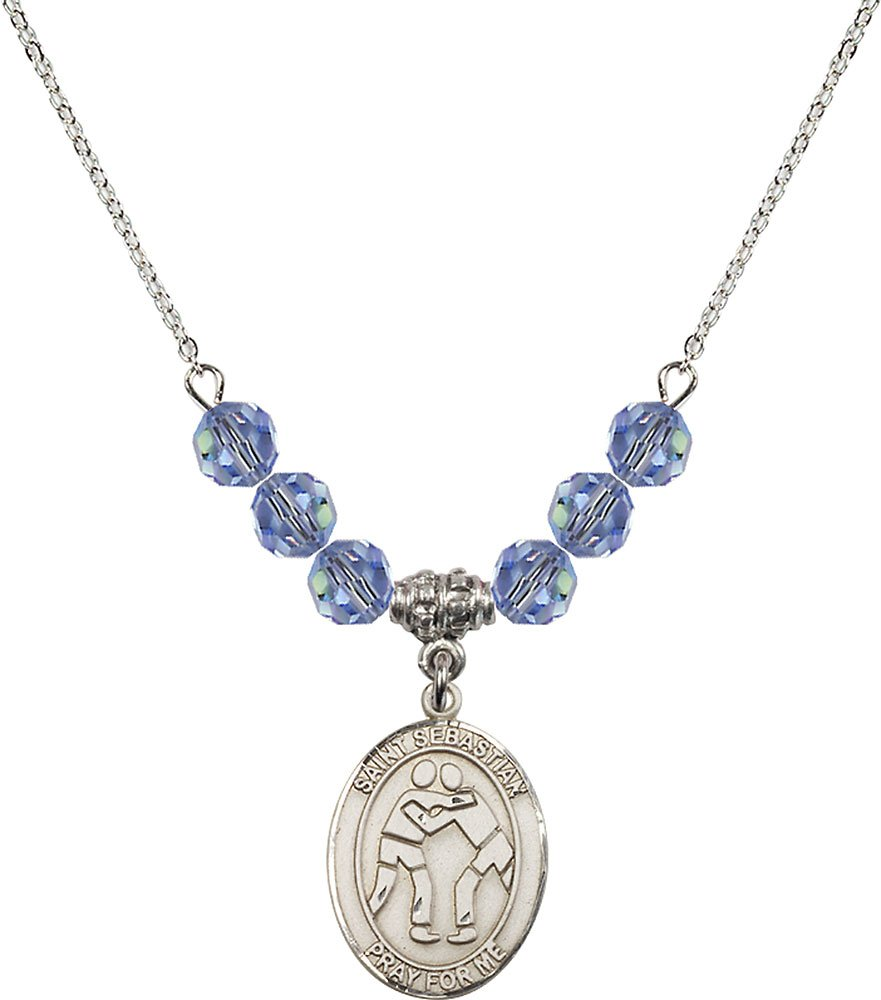 Rhodium Plated Necklace with 6mm Light Sapphire Birthstone Beads & Saint Sebastian/Wrestling Charm.