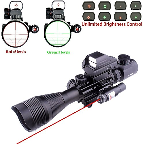 Red Hunting Sight (Lovebay 3 in 1 Tactical Rifle Scope 4-12x50EG Dual Illuminated with Holographic 4 Reticle Red&Green Dot Sight and Red Laser Sight for Hunting)