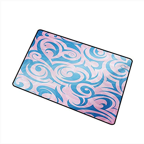 duommhome Door mat Navy and Blush Abstract Pattern with Tribal Curls Artistic Floral Curves Swirls W20 xL31 Suitable for Outdoor and Indoor use