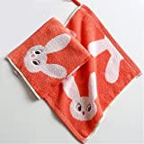 MF 100% Cotton 30x30cm Jacquard Square Kids Towel Soft Baby Saliva Towel Cartoon Pattern Children Face Towel (Red)